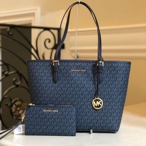 NWT Michael kors md carryall tote+Double ZIp walle